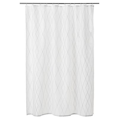 BASTSJÖN Shower curtain, white yellow/lilac, 180x200 cm