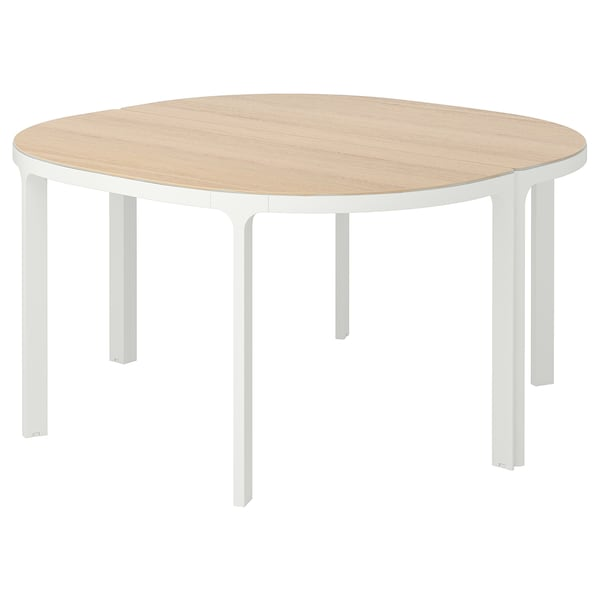 BEKANT Conference table, white stained oak veneer/white, 140 cm