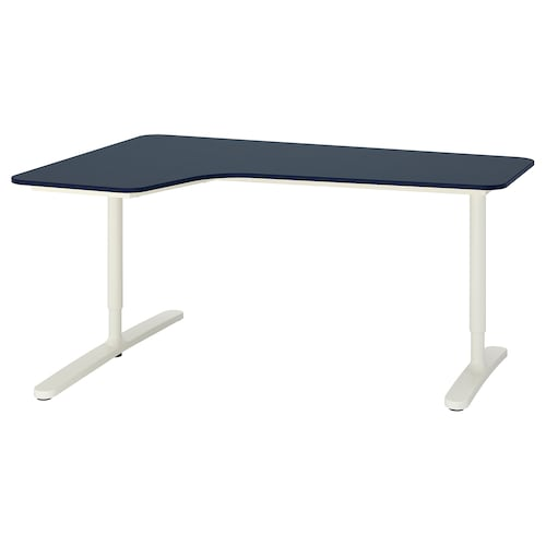 BEKANT corner desk left linoleum blue/white 160 cm 110 cm 65 cm 85 cm 100 kg