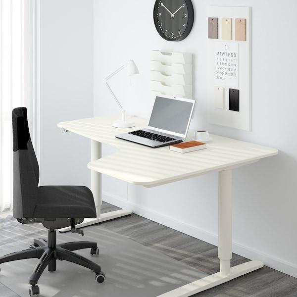 BEKANT مكتب زاوية، الجلوس يميناً/وقوف, أبيض, 160x110 سم
