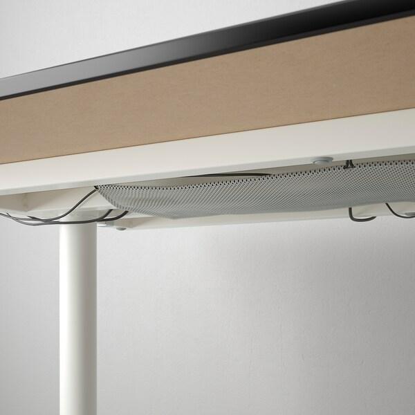BEKANT Desk, black stained ash veneer/white, 140x60 cm