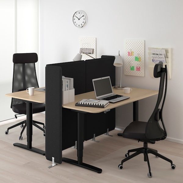 BEKANT Desk sit/stand with screen, white stained oak veneer/black, 160x160 120 cm