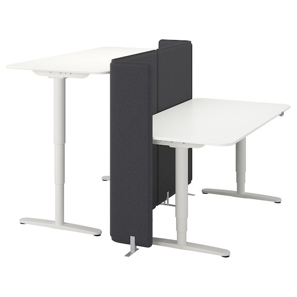 BEKANT Desk sit/stand with screen, white, 160x160 120 cm