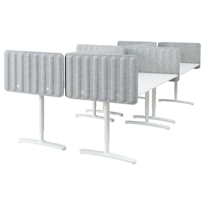 BEKANT Desk with screen, white/grey, 320x160 48 cm