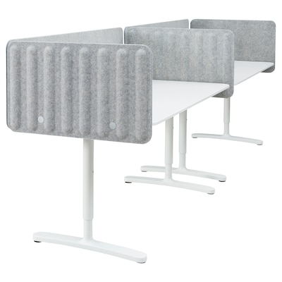 BEKANT Desk with screen, white/grey, 320x80 48 cm