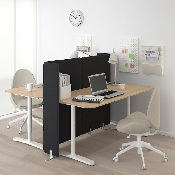 BEKANT desk with screen white stained oak veneer/white 120 cm 160 cm 160 cm 65 cm 85 cm 100 kg