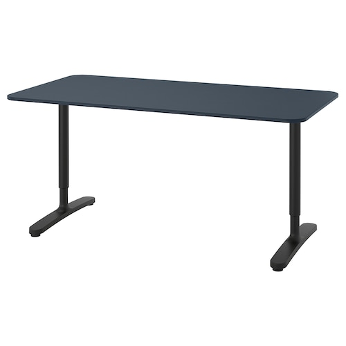 BEKANT desk linoleum blue/black 160 cm 80 cm 65 cm 85 cm 100 kg