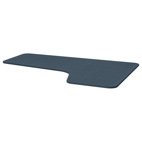 BEKANT Right-hand corner table top, linoleum blue, 160x110 cm