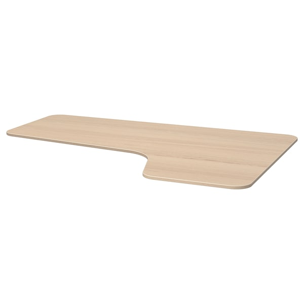 BEKANT Right-hand corner table top, white stained oak veneer, 160x110 cm