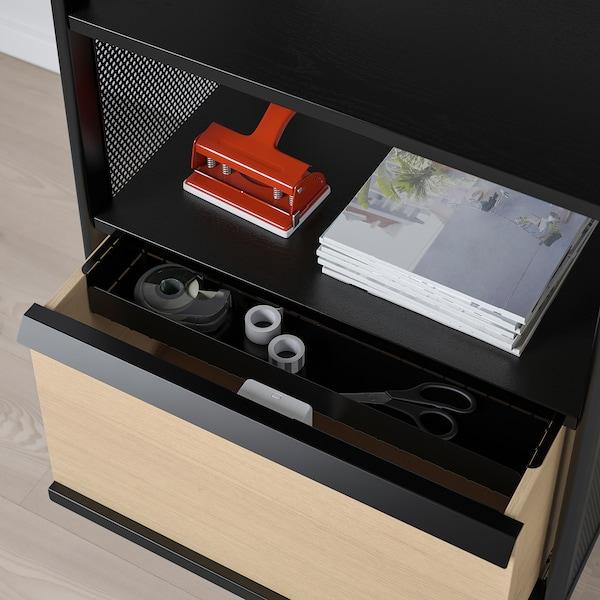 BEKANT وحدة تخزين بقفل ذكي, فتحة شبكة أسود, 61x101 سم
