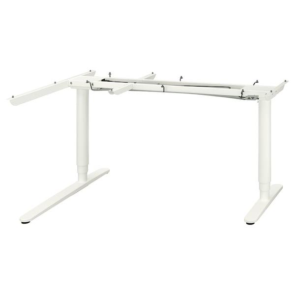 BEKANT Underframe sit/stand crnr table, el, white, 160x110 cm