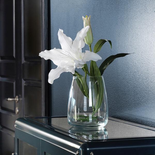 BERÄKNA مزهرية, زجاج شفاف, 18 سم