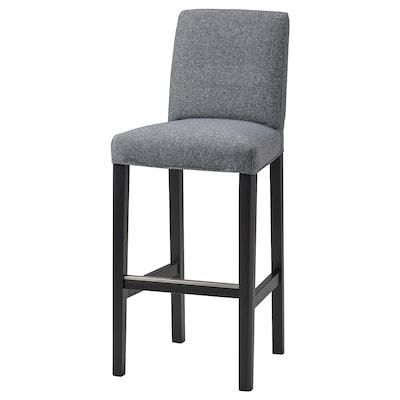 BERGMUND Bar stool with backrest, black/Gunnared medium grey, 75 cm