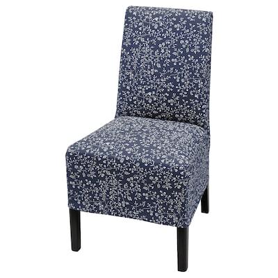 BERGMUND كرسي مع غطاء متوسط الطول, أسود/Ryrane أزرق غامق
