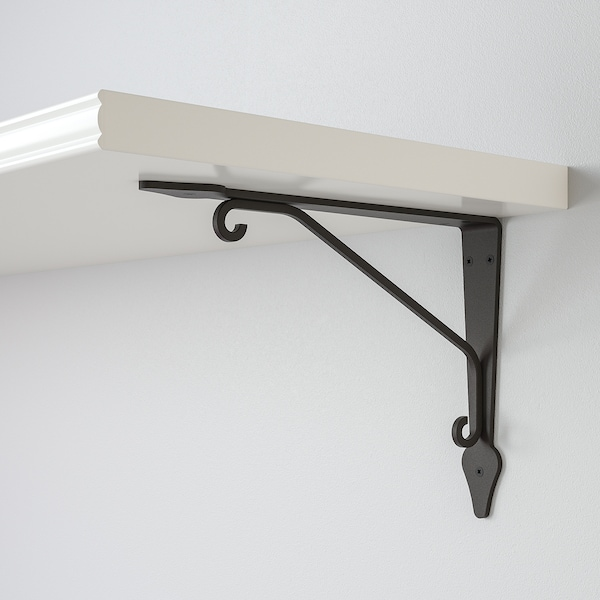 BERGSHULT / KROKSHULT Wall shelf, white/anthracite, 120x30 cm