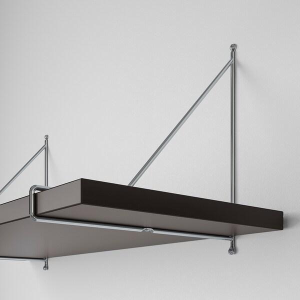 BERGSHULT / PERSHULT wall shelf combination brown-black/chrome-plated 120 cm 30 cm