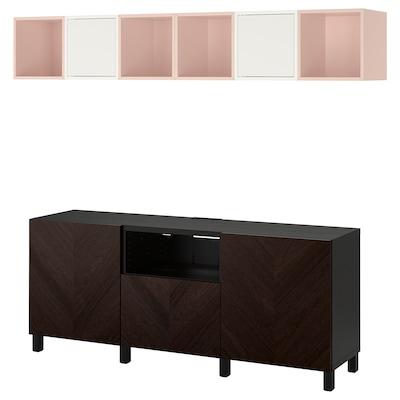 BESTÅ / EKET Cabinet combination for TV, black-brown pale pink/stained oak veneer, 210x40x220 cm