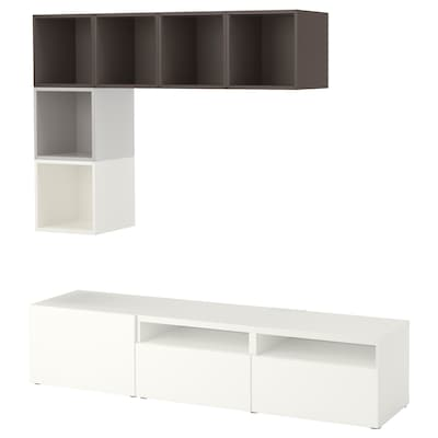 BESTÅ / EKET تشكيلة خزانات لتلفزيون, أبيض/رمادي فاتح/رمادي غامق, 180x40x170 سم