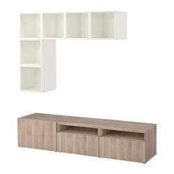 BESTÅ / EKET cabinet combination for TV, white, grey stained walnut effect