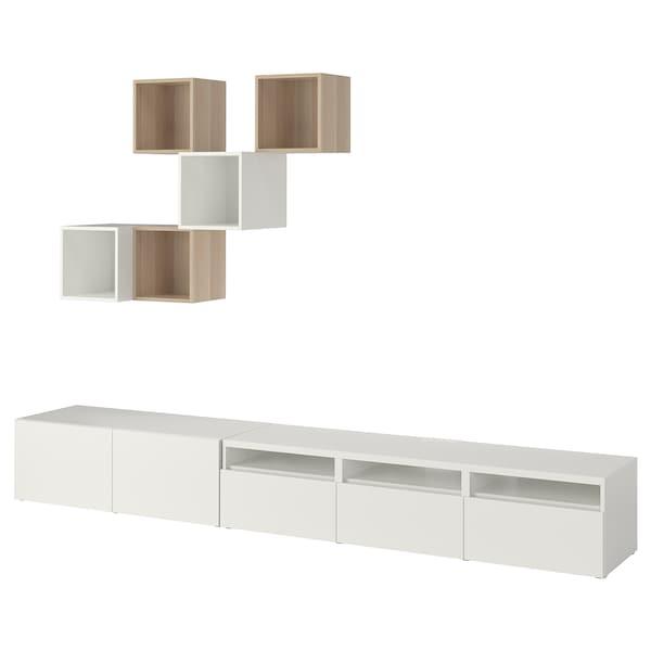 BESTÅ / EKET cabinet combination for TV white/white stained oak effect 300 cm 42 cm 210 cm
