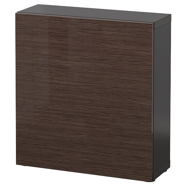 BESTÅ Shelf unit with door, black-brown/Selsviken high-gloss/brown, 60x22x64 cm