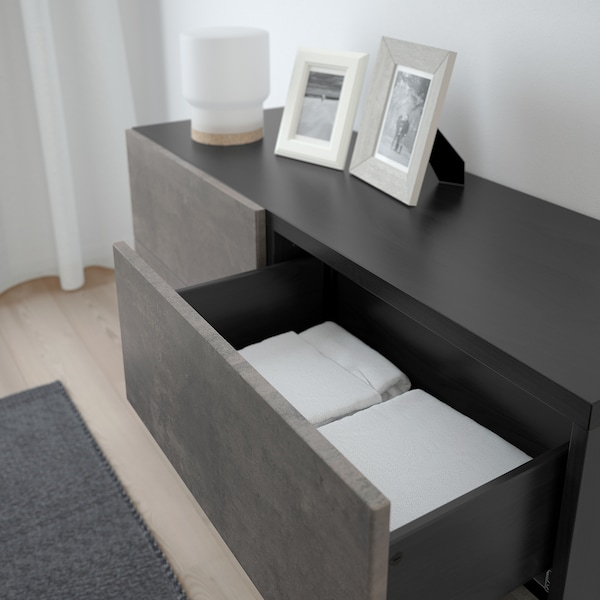 BESTÅ Storage combination w doors/drawers, black-brown Kallviken/Stallarp/dark grey concrete effect, 120x40x74 cm