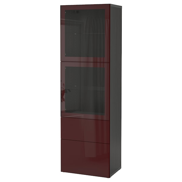 BESTÅ Storage combination w glass doors, black-brown Selsviken/dark red-brown clear glass, 60x42x193 cm