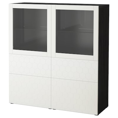 BESTÅ Storage combination w glass doors, black-brown/Vassviken white clear glass, 120x40x128 cm