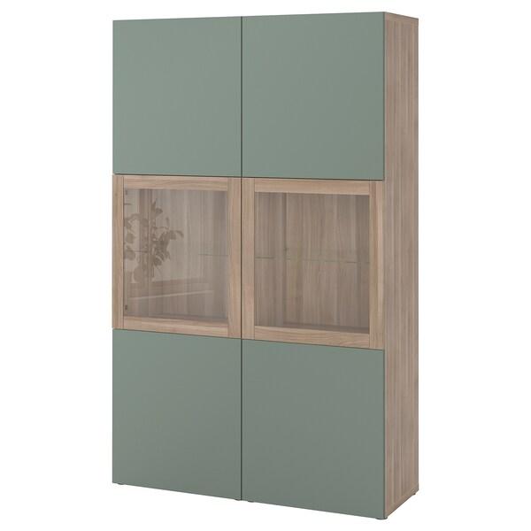 BESTÅ Storage combination w glass doors, grey stained walnut effect/Notviken grey-green clear glass, 120x42x192 cm