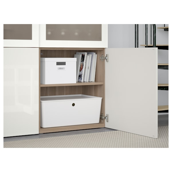 BESTÅ Storage combination w glass doors, grey stained walnut effect/Selsviken high-gloss/white frosted glass, 120x40x192 cm