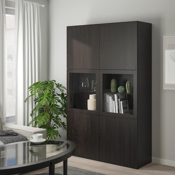 BESTÅ Storage combination w glass doors, Lappviken/Sindvik black-brown clear glass, 120x40x192 cm