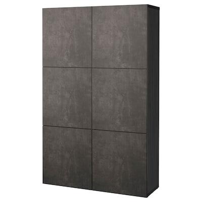 BESTÅ Storage combination with doors, black-brown Kallviken/dark grey concrete effect, 120x42x193 cm