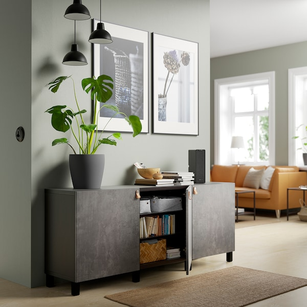 BESTÅ Storage combination with doors, black-brown Kallviken/Stubbarp/dark grey concrete effect, 180x42x74 cm