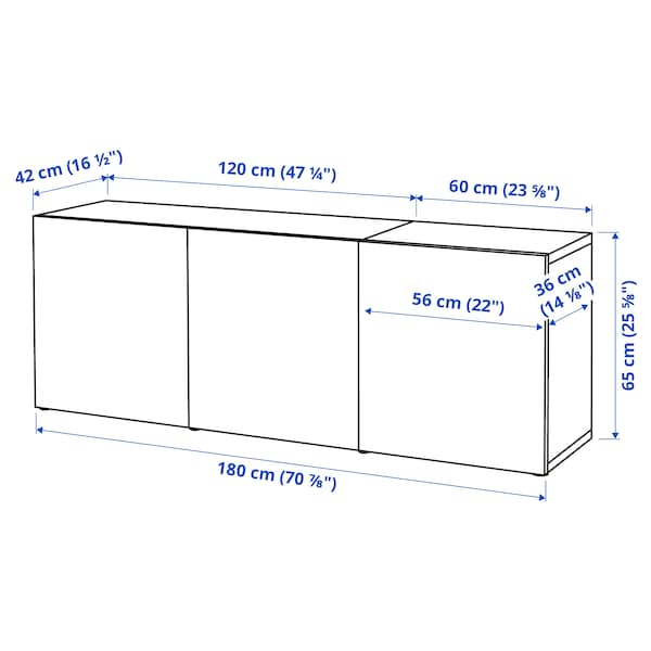 BESTÅ Storage combination with doors, black-brown/Selsviken high-gloss/black, 180x42x65 cm