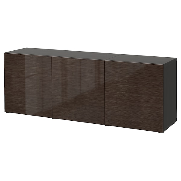 BESTÅ Storage combination with doors, black-brown/Selsviken high-gloss/brown, 180x42x65 cm