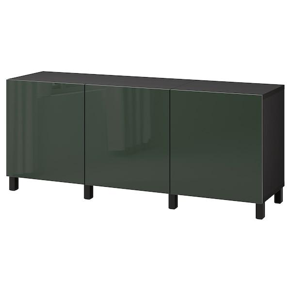 BESTÅ Storage combination with doors, black-brown Selsviken/Stubbarp/high-gloss dark olive-green, 180x42x74 cm