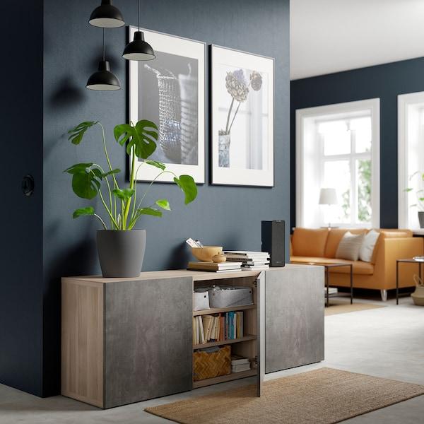 BESTÅ Storage combination with doors, grey stained walnut effect Kallviken/dark grey concrete effect, 180x42x65 cm