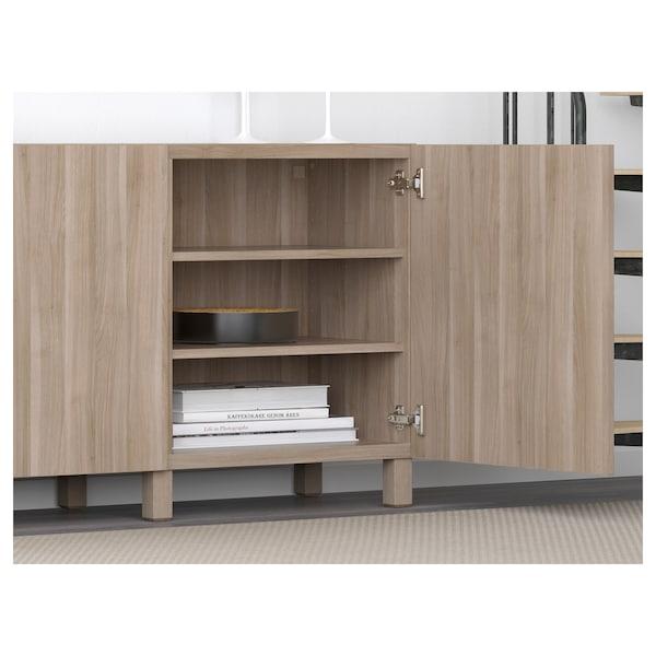 BESTÅ Storage combination with doors, grey stained walnut effect/Lappviken/Stubbarp grey stained walnut effect, 180x42x74 cm