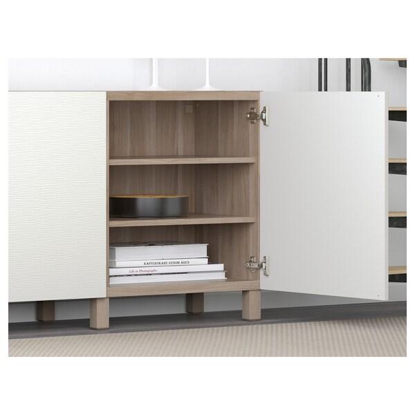 BESTÅ Storage combination with doors, grey stained walnut effect/Laxviken/Stubbarp white, 180x42x74 cm