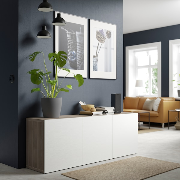 BESTÅ Storage combination with doors, grey stained walnut effect/Laxviken white, 180x42x65 cm