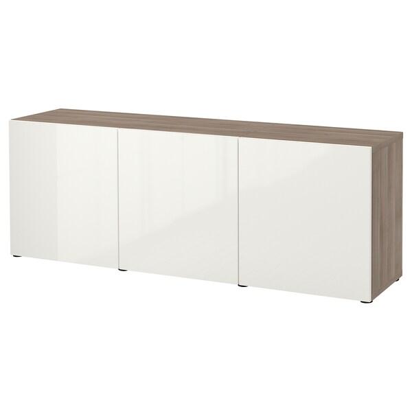 BESTÅ Storage combination with doors, grey stained walnut effect/Selsviken high-gloss/white, 180x42x65 cm