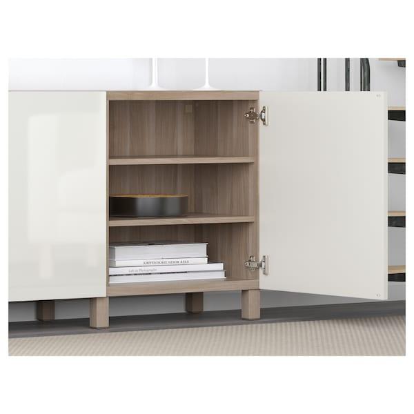 BESTÅ Storage combination with doors, grey stained walnut effect/Selsviken/Stubbarp high-gloss/white, 180x42x74 cm