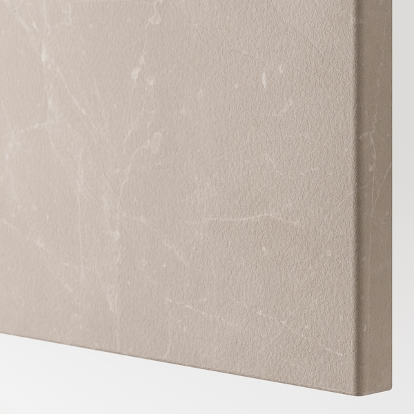 BESTÅ Storage combination with doors, white Bergsviken/Stubbarp/beige marble effect, 180x42x74 cm