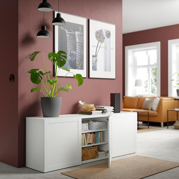 BESTÅ Storage combination with doors, white/Hanviken white, 180x42x65 cm