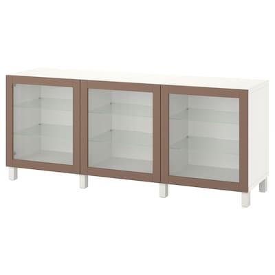 BESTÅ Storage combination with doors, white Sindvik/Stubbarp/light grey-brown clear glass, 180x42x74 cm