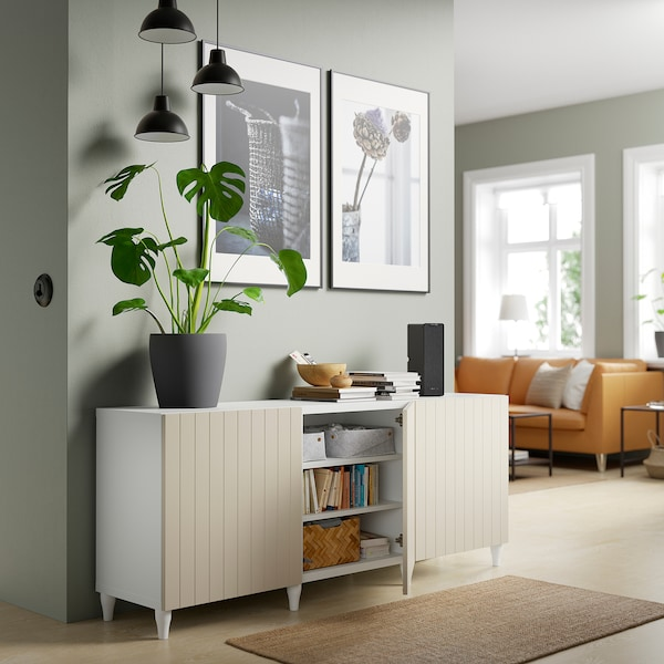 BESTÅ Storage combination with doors, white/Sutterviken/Kabbarp grey-beige, 180x42x74 cm