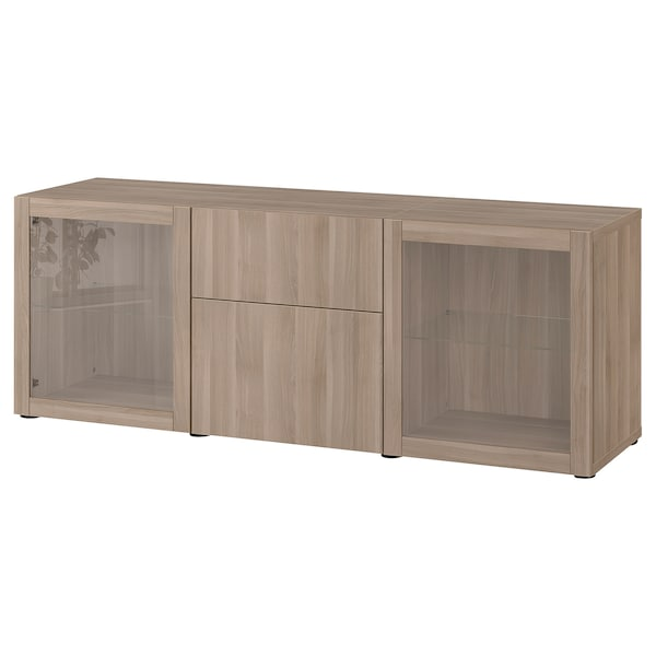 BESTÅ Storage combination with drawers, grey stained walnut effect Lappviken/Sindvik grey stained walnut eff clear glass, 180x42x65 cm