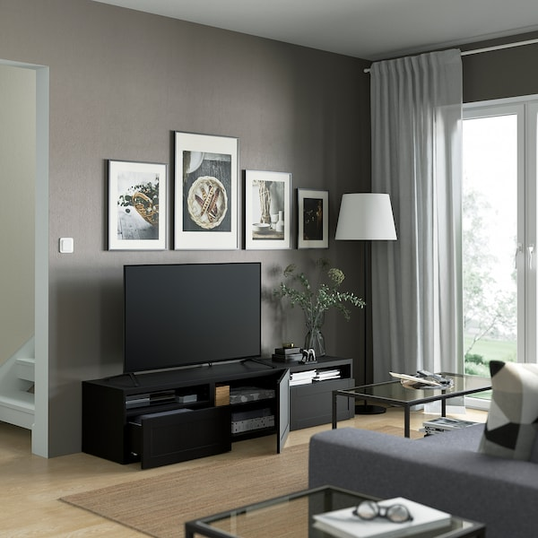 BESTÅ TV bench, black-brown/Hanviken black-brown, 180x42x39 cm