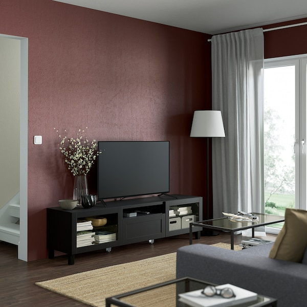 BESTÅ TV bench, black-brown/Hanviken/Stubbarp black-brown clear glass, 180x42x48 cm