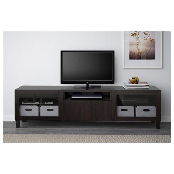 BESTÅ TV bench, black-brown/Lappviken/Stubbarp black-brown clear glass, 180x42x48 cm